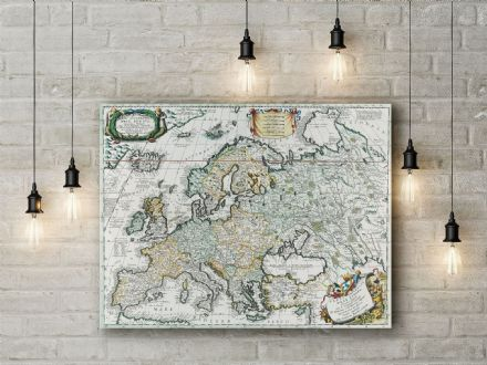 Vincenzo Coronelli: Map of Europe. Fine Art Canvas.